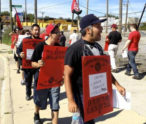 Mobile Rail workers marching the picket line on strike outside of Chicago.